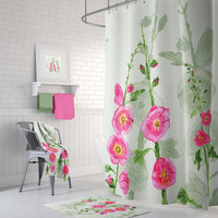 Hollyhock Floral Shower Curtain - pink and green - Fabric - beautiful bathroom makeover, spring flowers
