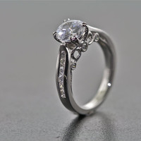 14kt White Gold Vintage Style Engagement and Wedding Ring with Diamonds and 1ct White Sapphire Center