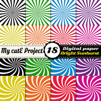 Bright Sunburst - Instant Download - Digital paper - Background - Scrapbooking - 18 sheets - 12X12 inches & A4