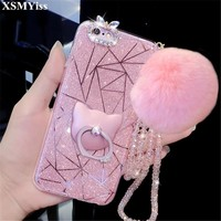 XSMYiss For iPhone 6 6S 7 8 Plus X Luxury Fashion Bling Kickstand Cute Plush Rabbit pom Fur ball Soft Phone case Back cover