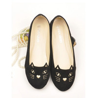 Cute Kitty Cat Face Girls Womens Shoes Loafers Ballerina Low Heel Comfort Flats