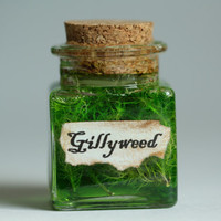 "Gillyweed Harry Potter Potion Small Gift Under 10 Dollars or Kitschy Decoration  2.5"" Square Glass Bottle, Corked"