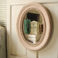 Vintage Pink Oval Ornate Mirror, Vintage Oval Mirror, Antique Pink Patina Distressed Mirror, Nursery Decor, Shabby Chic, Cottage Chic