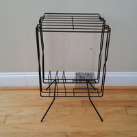 Vintage Black Wire Mid Century Record Player Stand Table Shelf  With Record Magazine Holder
