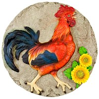 Rooster With Sunflowers Stepping Stone