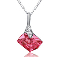 Asymmetrical Swarovski Elements Crystal Beauty Necklace - Pink
