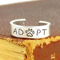 Adopt - Animal Rescue - Pets - Adjustable Aluminum Ring