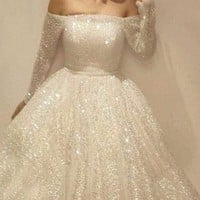 New White Patchwork Sequin Pleated Off Shoulder Long Sleeve Tutu Midi Dress