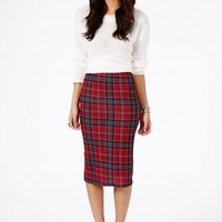 Missguided - Amalize Tartan Midi Pencil Skirt In Red