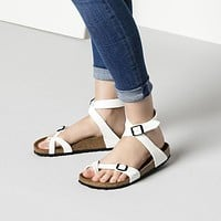 2017 Birkenstock Summer Fashion Leather Cork Flats Beach Lovers Slippers Casual Sandals For Women Men Couples Slippers color white size 36-45-1