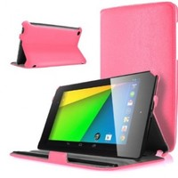 Caseology Google Nexus 7 FHD 2nd Gen Case 2013 by ASUS - Ultra Slim Fit Leather Multi-Angle Stand Case for Google New Nexus 2nd Generation 2013 7.0 Inch 4.3 Tablet (Pink)