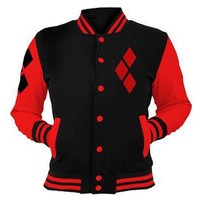 Hitmebox 2018 Suicide Squad Harley Quinn Cosplay Costumes Casual Sports Buttons Down Gym Sweatshirt ladies/Men Fleece Jackets
