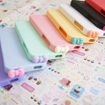 YOU CHOOSE Sherbert Pastel Silicone Cell IPhone 4 4s Case with Bowtie Dust Stopper