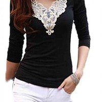 ACEFAST INC Elegant Lace Shirts Short Sleeve Women's Tops Blouses Work OL Career