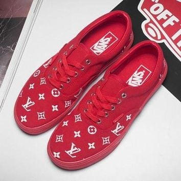 Vans x Supreme x LV Old Skool Popular Canvas Flat Sneakers Sport Shoes Red I