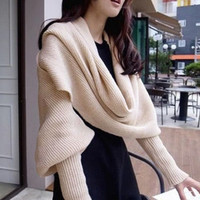 khaki Black Versatile Cozy Knit Scarf with Sleeves or Babydoll
