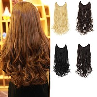 "20"" Curly Synthetic Hair Extensions - Transparent wire / No clips"