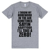 I Throw My Homework In The Air Sometimes-Athletic Grey T-Shirt