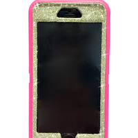 iPhone 6 Plus OtterBox Defender Series Case Glitter Cute Sparkly Bling Defender Series Custom Case  pink /white gold