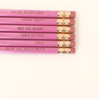 mean girls assorted engraved pencil set 6 by thecarboncrusader