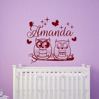 Owl Wall Decals For Girls Name Decal Kids Nursery Custom Personalized Stickers Home Bedroom Decor  T105