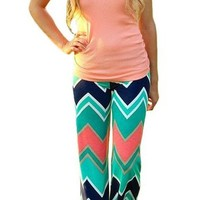 Women's Tribal Aztec Printed Wide Leg Fold Over Waist Palazzo Pants