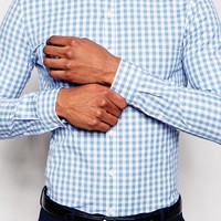 ASOS Skinny Fit Shirt In Gingham Check With Long Sleeves