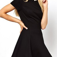 Color Block Ruffle Hem Fitted Dress with Peter Pan Collar - Beautifulhalo.com