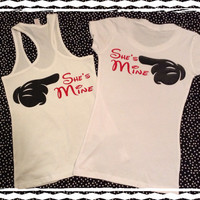 Free Shipping-She'e Mine and She's Mine Matching Gay Lesbian couples shirts