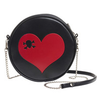 Skull & Crossbones in a Red Heart Round Embossed Purse Shoulder Bag