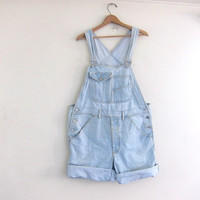 Vintage GUESS light wash blue Jean Bib Overalls Shorts // Carpenter Pants // size Large