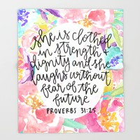 Proverbs 31:25 Floral // Hand Lettering Throw Blanket by Samantha Ranlet | Society6