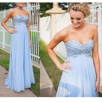 Sky Blue Sheeth Beads Bodice and Chiffon Celebrity Prom Dresses pst0162