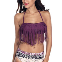 Purple Halter Tassel Padded Bikini Top And Floral Bottom