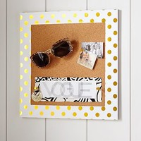 Paper Border Corkboard, Gold Dots