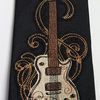 Embroidered Guitar Tie