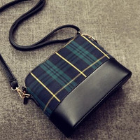 Summer One Shoulder Small Size Plaid Korean Bags [6582430407]