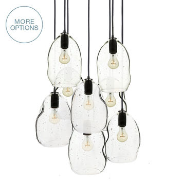 Hand Blown Seeded Glass Bubble Stagger 2-11 Pendant Light Chandelier