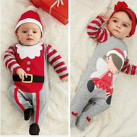 2016 Christmas Baby rompers Costume kids newborn clothes long sleeve spring children infant clothing set top+hat