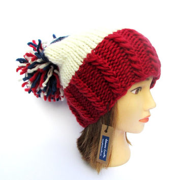 Montreal Canadiens hat - hand knit slouchy beanie hat with large pom pom - montreal candians red white and blue chunky knit hat - hockey hat