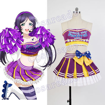 Love Live! Lovelive Cheerleader Nozomi Tojo Halloween Cosplay Costume Uniform Outfit School Idol Project Cheer Dress For Women