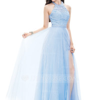 [US$ 147.49] A-Line/Princess Halter Floor-Length Tulle Prom Dress With Beading Sequins Split Front - JJsHouse