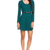 Foreign Exchange :: WOMEN :: DRESSES :: DAY :: GREEN HOLIDAY FLARE BELTED DRESS