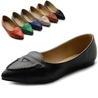 ollio Womens Shoes Ballet Pointed Toe Comfort Multi Colored Flats