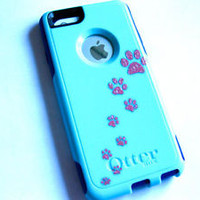 Custom Otterbox Commuter iphone 5C Case Sparkly paw print