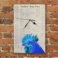 Wall Clock Cock Old Newspeper Modern Art Connection, Vintage