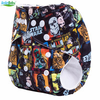 Ananbaby Reusable Cloth Nappy Star Wars With Suede Inner Baby Diaper Waterproof Pul Cover With Microfiber Insert Suit 3-15kg