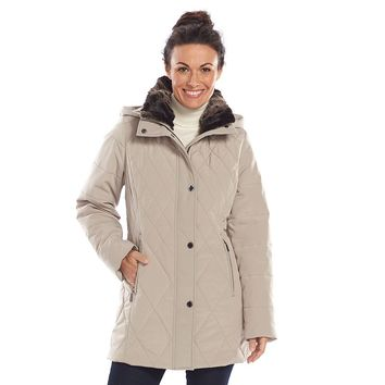 Croft & Barrow Hooded Quilted Stadium Jacket - Women's (Brown)
