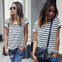 Womens Short Sleeved Striped Top