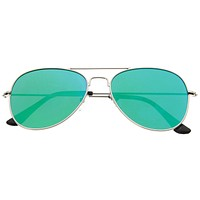 Modern Flat Lens Wire Metal Aviator Sunglasses A174